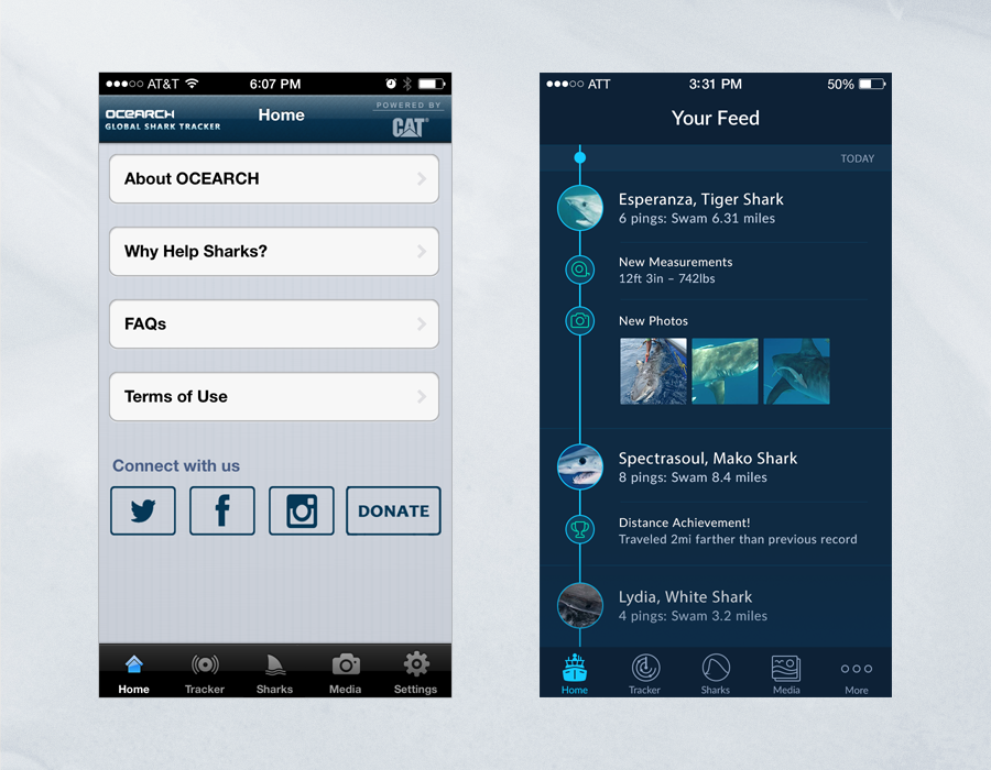 Shark Tracker iOS App - Comparison of Home Page