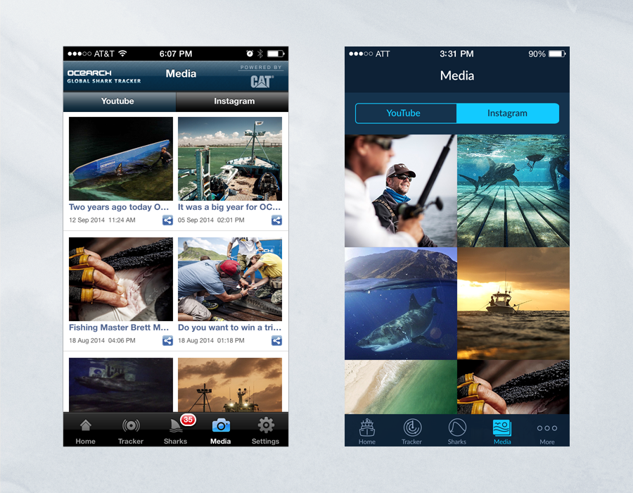 Shark Tracker iOS App - Comparison of Media Page