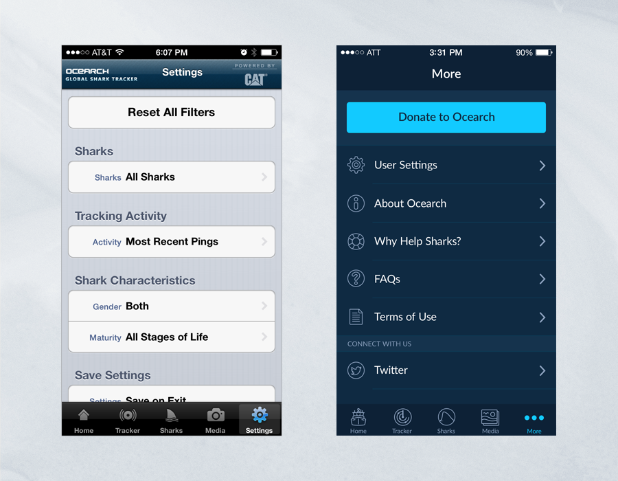 Shark Tracker iOS App - Comparison of Settings Page