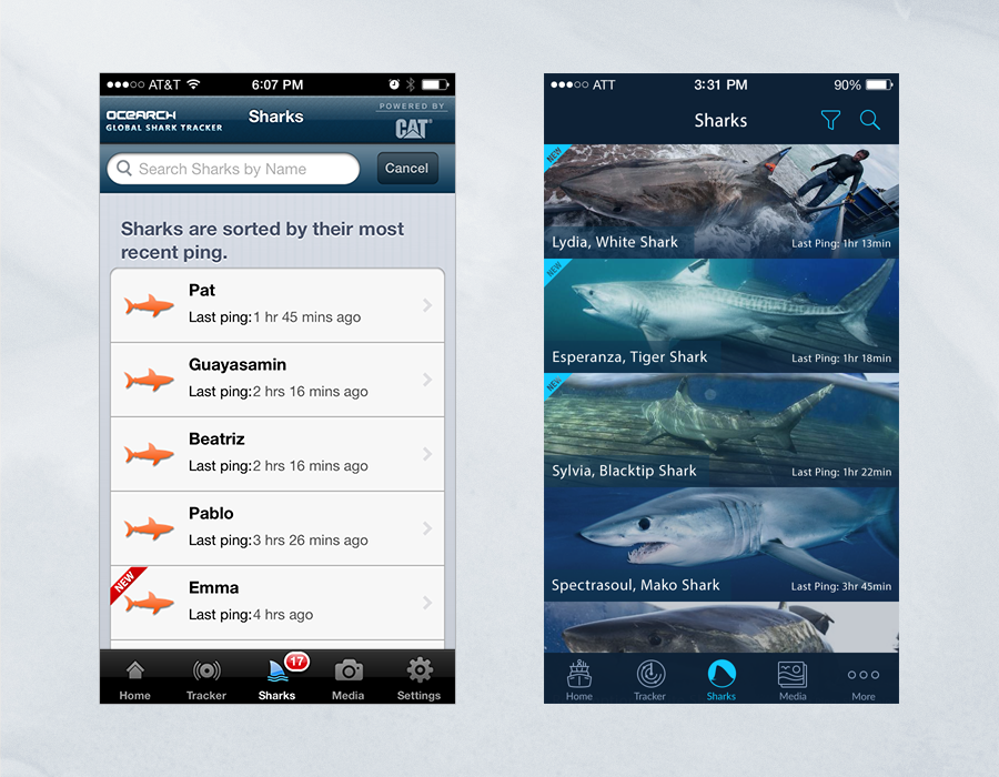 Shark Tracker iOS App - Comparison of Shark Listing Page