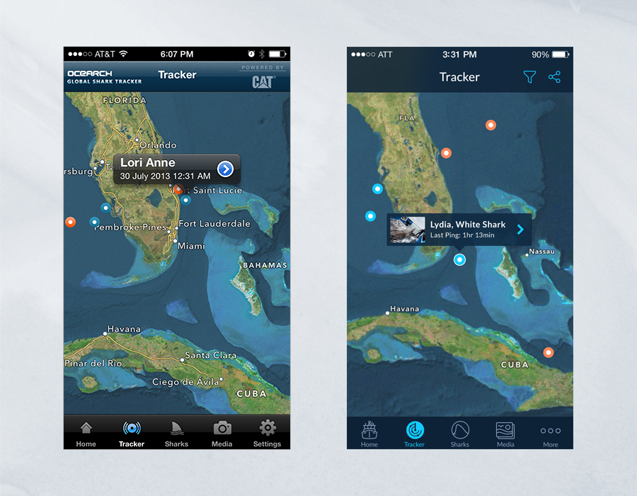 Shark Tracker iOS App - Comparison of Tracker Page